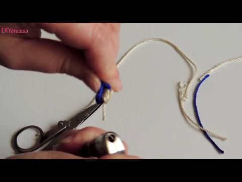 DIY Tutorial Pulsera kumihimo dos colores con nudo corredizo. Bracelet kumihimo.
