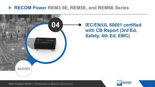 RECOM Power REMxE Medical Grade DC/DC Converters — New Product Brief | Mouser Electronics