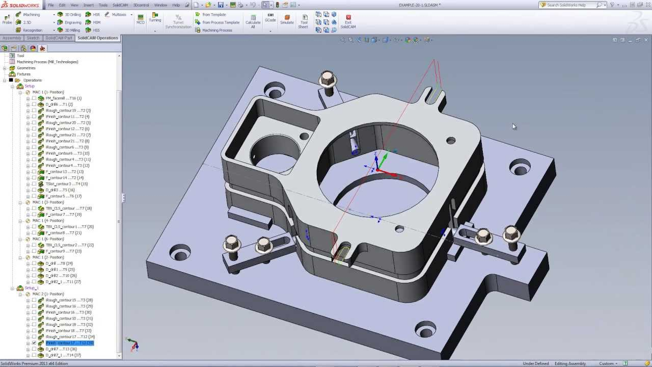Solidcam university d machine fixture with holding
