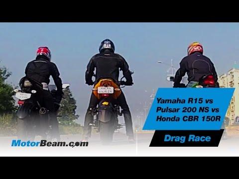 Yamaha R15 vs Pulsar 200 NS vs Honda CBR150R - Drag Race