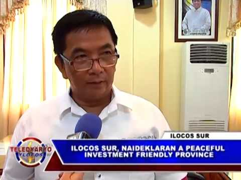 PTV TELEDYARYO YLOCOS ILOCOS SUR, NAIDEKLARAN A PEACEFUL INVESTMENT FRIENDLY PROVINCE