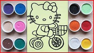 Đồ chơi trẻ em, tô màu tranh cát mèo Hello Kitty đạp xe - Coloring Hello Kitty (Chim Xinh)