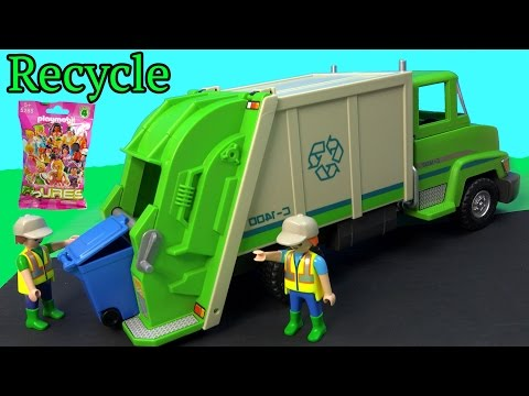 PLAYMOBIL Green Recycling Truck & Surprise Mystery Blind Bag Unboxing Toy Review