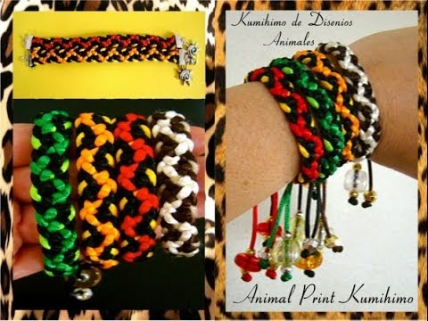 Kumimari 5: Animal Prints and Slipnots/Pulsera de kumihimo Con Disenios Animales y Nudo Corredizo