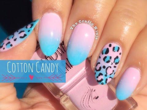 Cotton Candy Ombré Leopard Nails