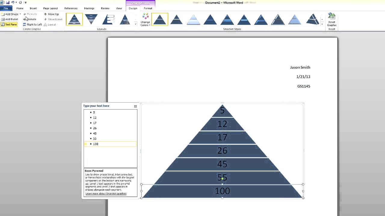 microsoft word tutorial  how to create a smartart pyramid