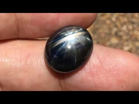 18.70 ct Oval Shape genuine natural Blue black star sapphire 12 rays gemstone unheated Thailand