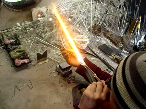 B&L Glass Blowing Show : How to make BIG BUCKS Glass blowing -Water pipe in under 9 minutes