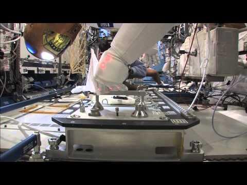Robonaut Demonstrating Hand Rail Cleanings