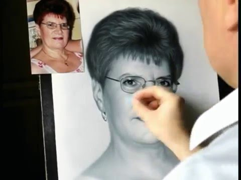 Drawing portrait of woman. How to draw portrait by Dry Brush