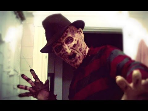 Freddy Krueger scaring some kids in the neighborhood (bad quality video)