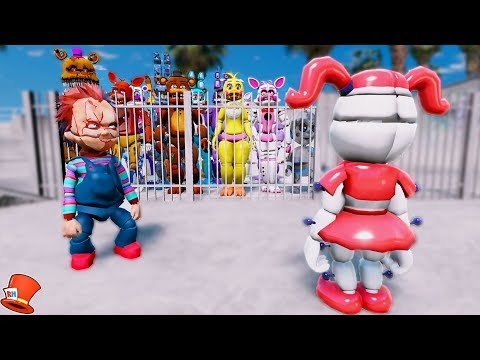 CAN ADVENTURE BABY SAVE THE ANIMATRONICS FROM CHUCKY'S PRISON? (GTA 5 Mods For Kids FNAF RedHatter)