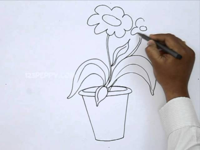 Flower pot drawing for kids