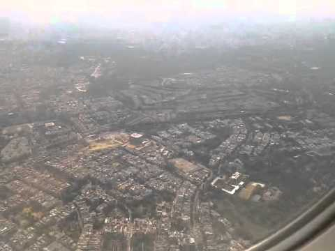 Flight landing at Delhi Airport