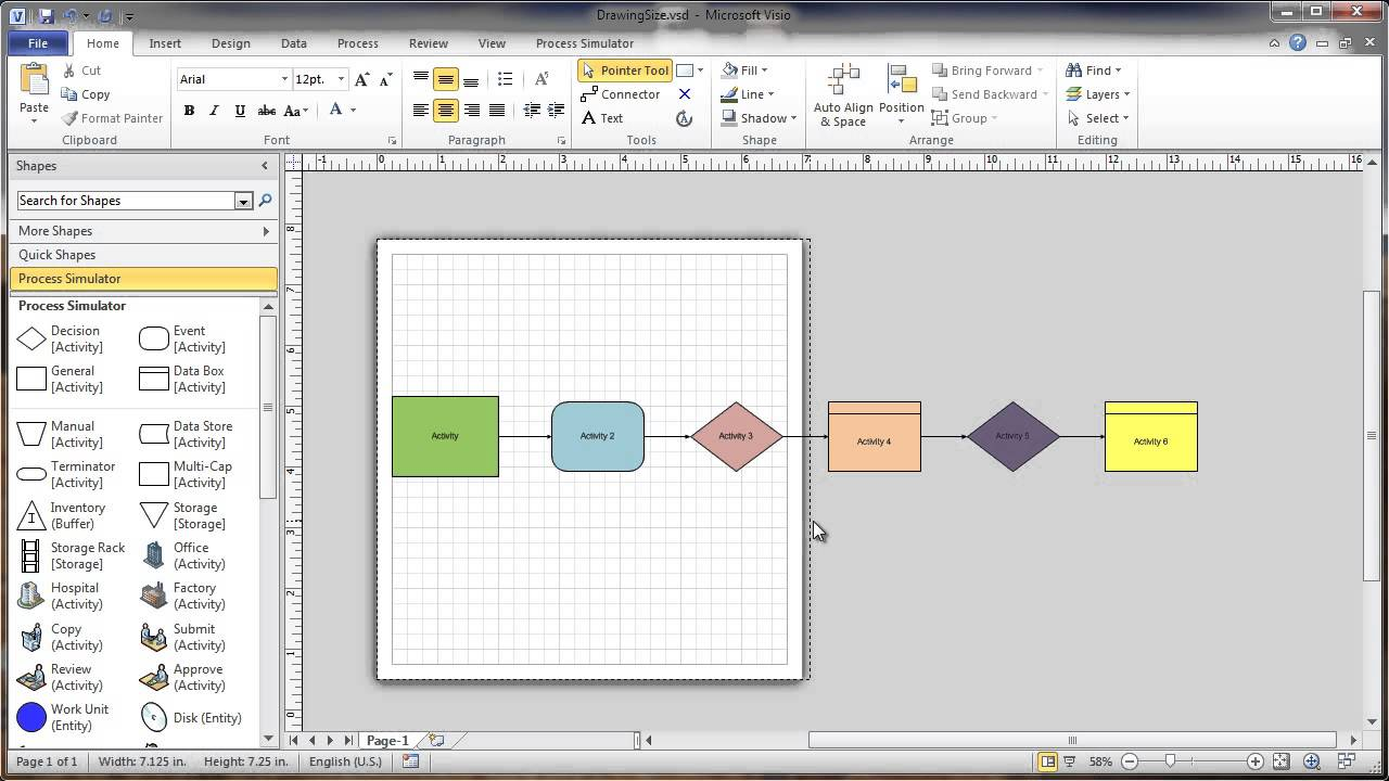 how to change the size of a visio drawing page  background grid