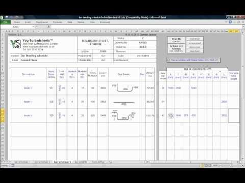 Bar Bending Schedule to IS 2502 Spreadsheet - main features