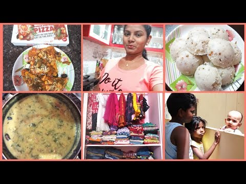 #DIML July 5th Vlog/Breakfast&Lunch/Instant Pizza/Kids Cloth Organisation/Masala Idly Palak Pappu