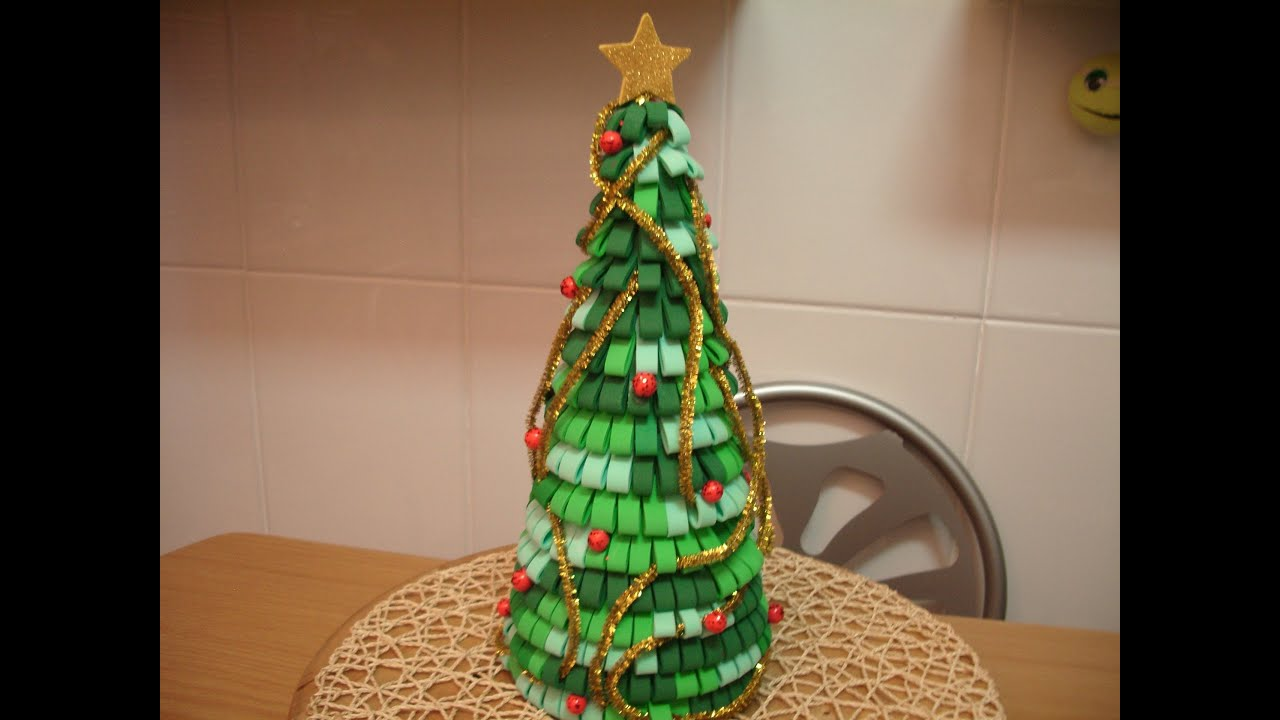Como hacer arbol de navidad con goma eva youtube - Cosas de goma eva ...