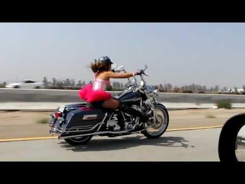 Chynna Chameleon On Harley Ddson Road King Stunts Tutu Breast