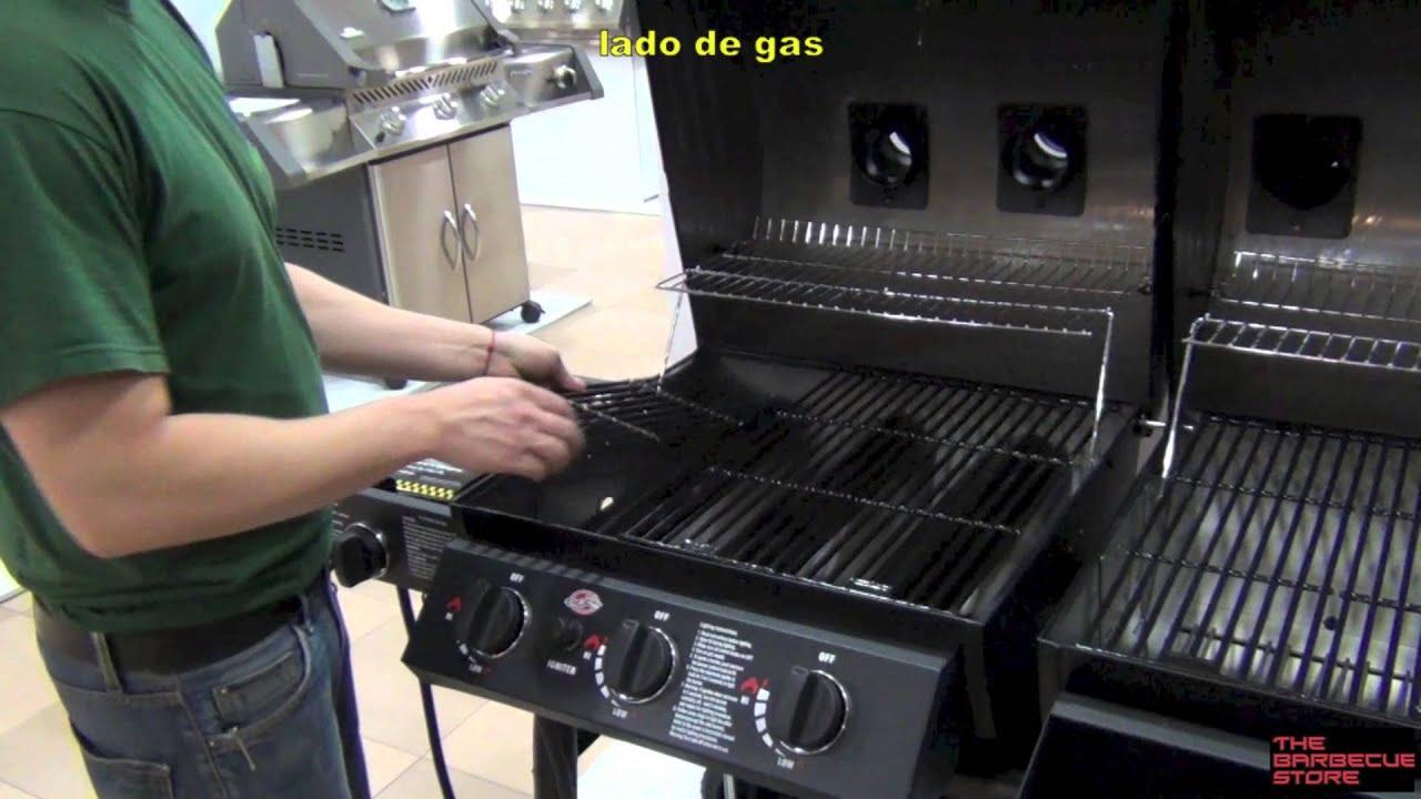 Barbacoa duo de gas y de carb n char griller youtube - Carbon para barbacoa ...