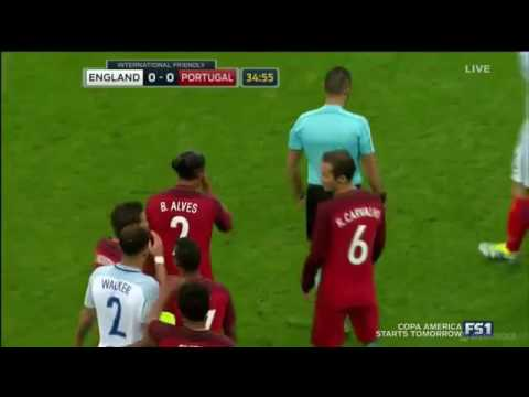 Bruno Alves KUNG FU KICKS Harry Kane In The Head - RED CARD - England vs Portugal 1-0 2016