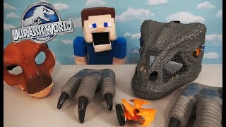 Jurassic World 2 Chomp 'N Roar Velociraptor Blue Mask, Claws, Tyrannosaurus Toy Unboxing