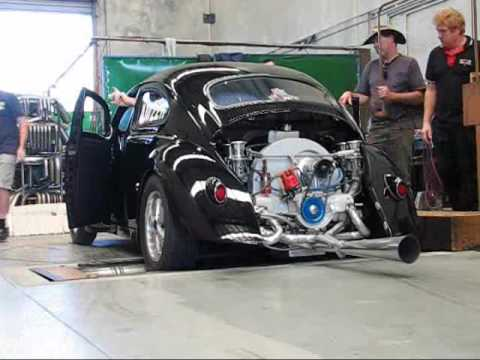 Rod Richardson Black Chopped VW Beetle on Dyno - 2276cc