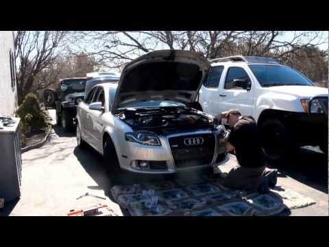 R8 style HID projector headlight install on an Audi A4 B7 S-line