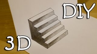 DIY 3D Stairs - How To Draw Easy 3D Stairs Optical Illusion
