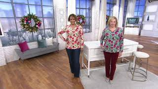 Denim & Co. Printed Perfect Jersey V-Neck Long- Sleeve Top on QVC
