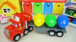 Truck cars surprise eggs and car toys play