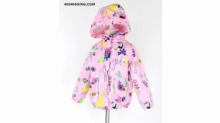 Animals Printed Zip-up Windproof Hooded Mesh Coat for Toddlers Girls Wholesale