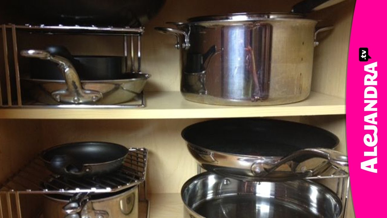 How To Organize Pots Pans Amp Lids In The Kitchen Youtube