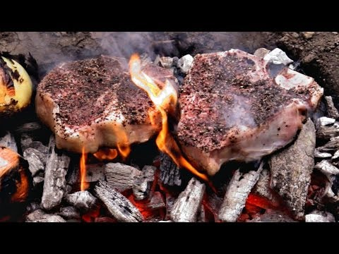 Caveman Steak Recipe - Cooked directly on the coals