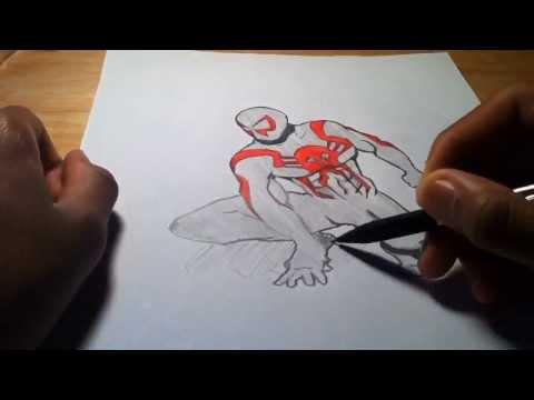 Как рисуют человек паука видео все
