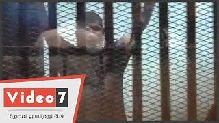 بالفيديو.. «مرسى» مرتديا تى شيرت نصف كم أثناء نظر جلسة «التخابر مع قطر»