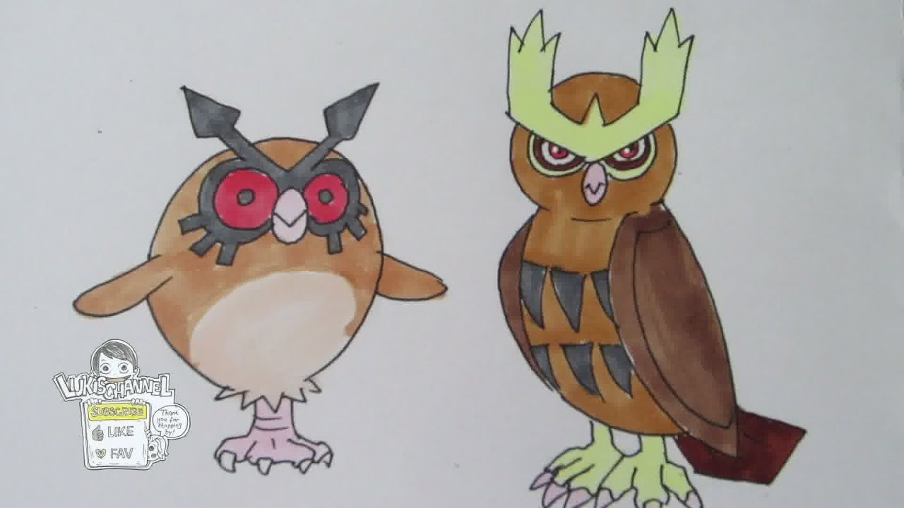 how to draw pokemon no163 hoothoot no164 noctowl youtube