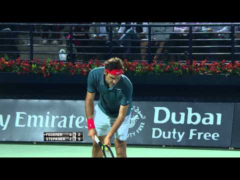 Dubai 2014 Federer Tests Ball Boy Reflexes