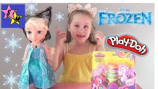 Эльза с микрофоном и Саша открывают Play-Doh My Little Pony Пони Знаки Отличия