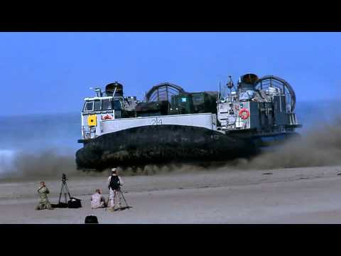 US Navy Hovercraft departs beach in San Francisco