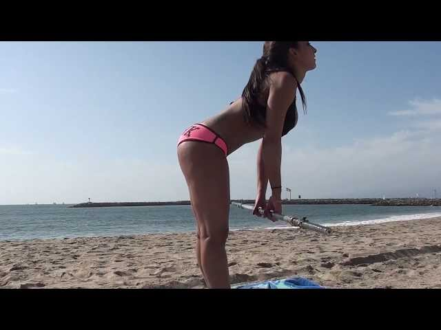 HOT Bikini Models!! Beach workout.