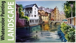Watercolor Landscape Painting : Canals of Bruges