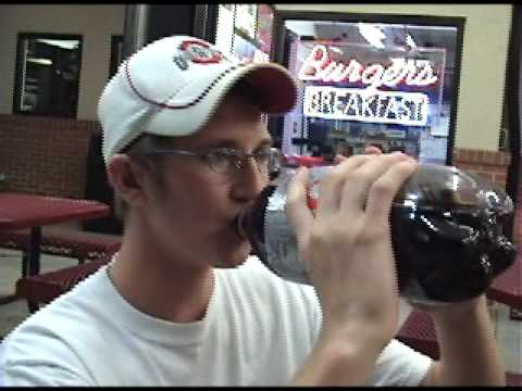 Guy eats mentos and drinks diet coke