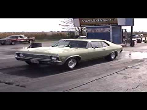 10 second pro street green chevy nova run in street trim