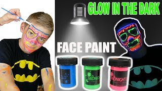 Glow In The Dark Face Paint Challenge For Kids | FUN Blacklight Miniature Golfing Game