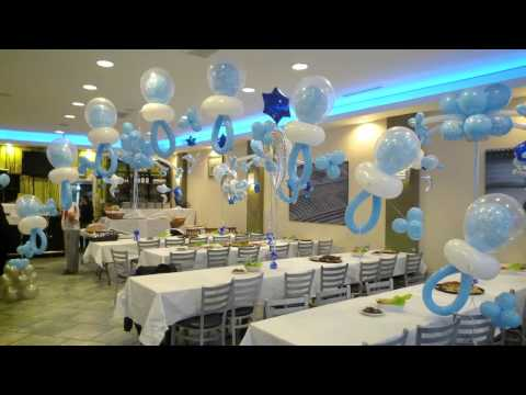 blue and chocolate brown baby shower decorations and table decor