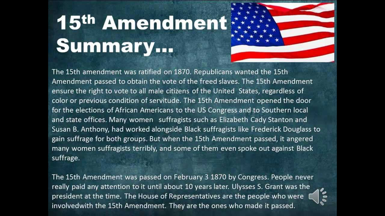 African Americans and the 15th Amendment