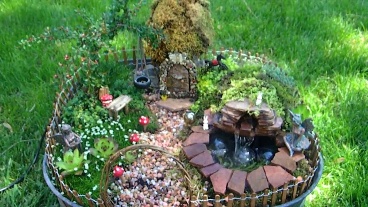 Fairy garden with pond and waterfall miniature youtube for Mini garden pond