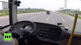 Self-driving bus now a reality: Taking a ride in China