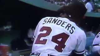 Deion Sanders Gives Kiss To Jeff Blauser Atlanta Braves